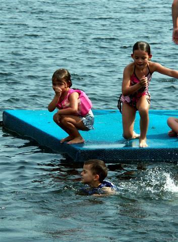 Kids on raft.